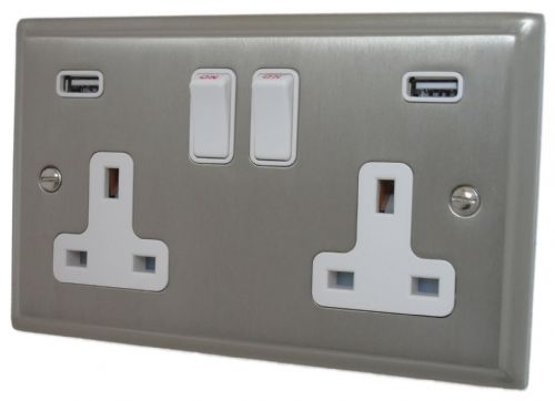 G&H DSN910W Deco Plate Satin Nickel 2 Gang Double 13A Switched Plug Socket USB